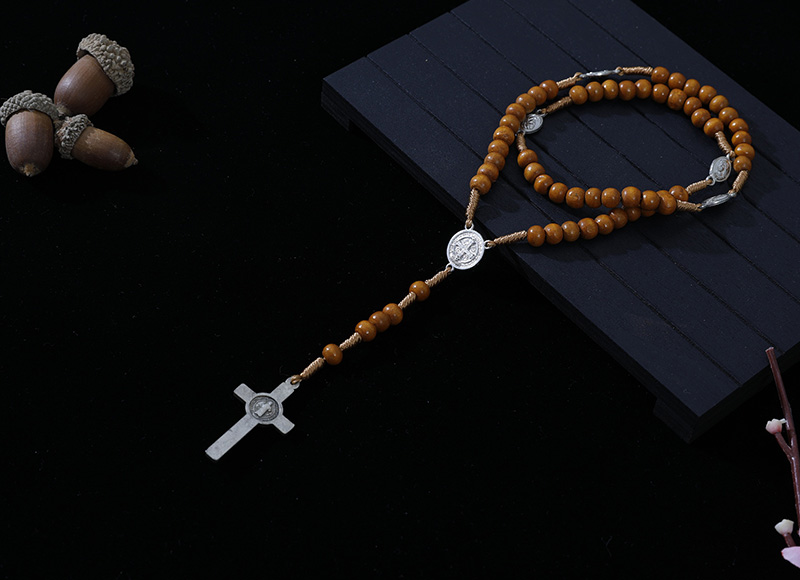 6-7mm brown wood cord rosary