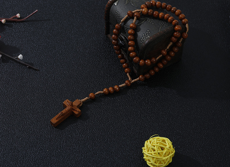 6-7mm brown wood rosary with carved cross