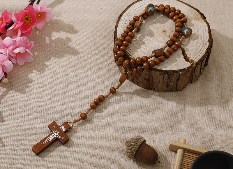 6-7mm brown wood rosary with expoxy