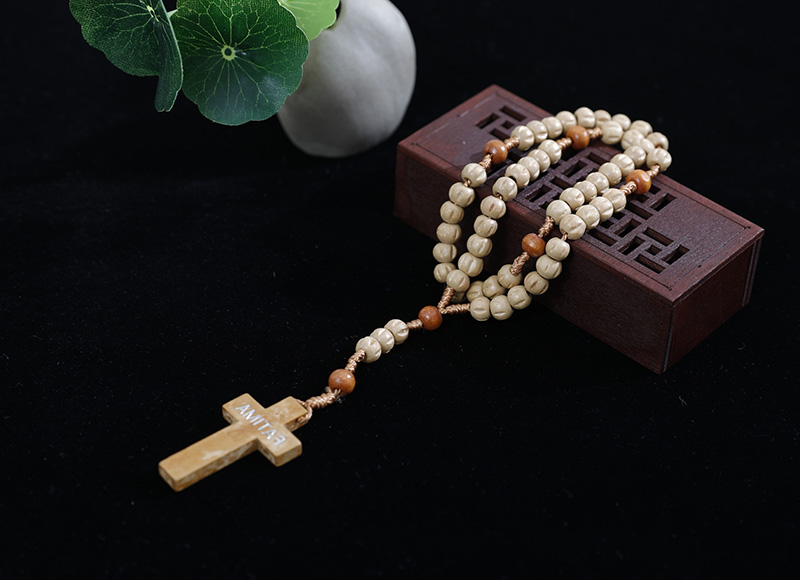 6-7mm carved wood rosary