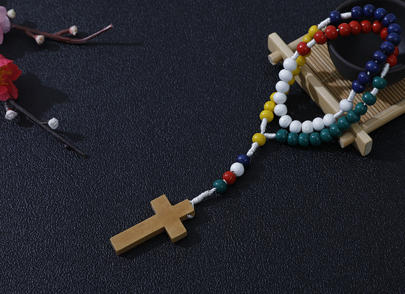 6-7mm coloful wood rosary