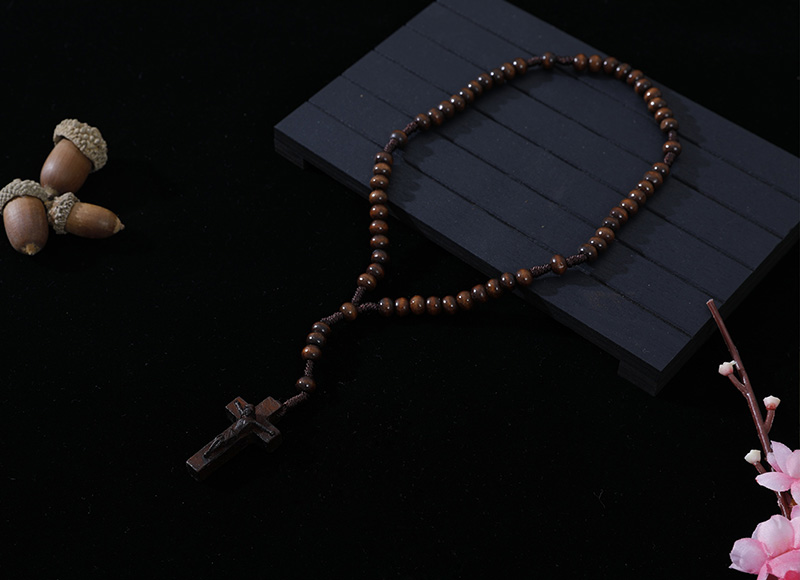 6-7mm dark brown wood cord rosary