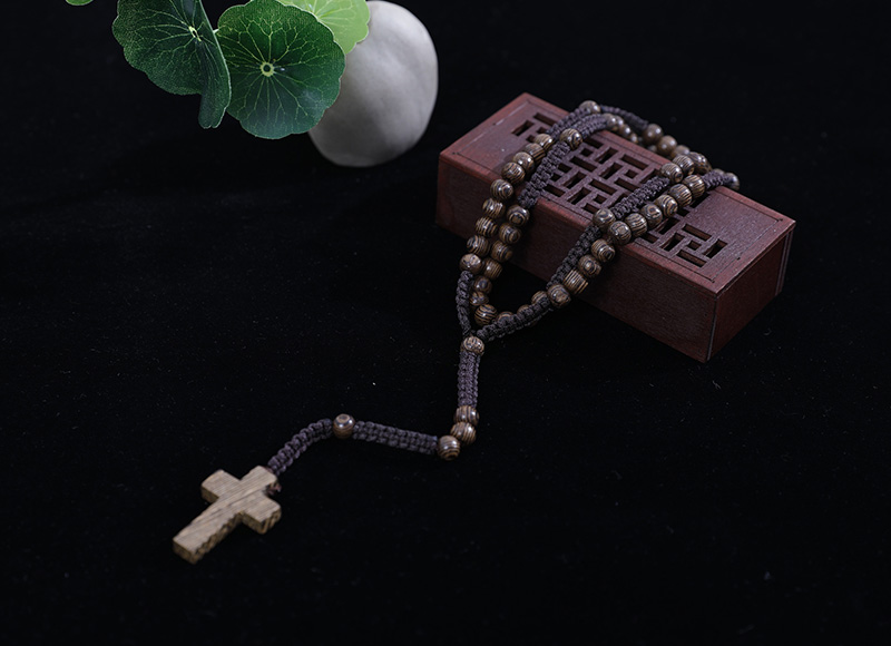 6-7mm knotted wood rosary