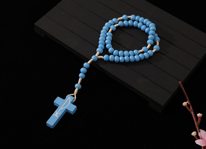 6-7mm light blue wood cord rosary