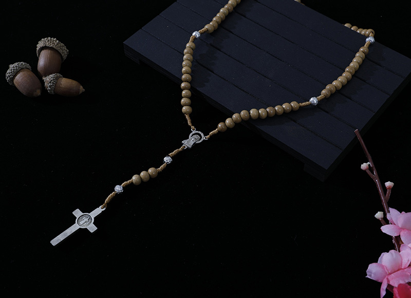 6-7mm light brown wood cord rosary