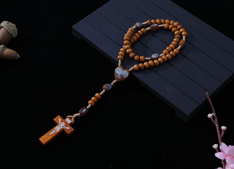 6-7mm light brown wood cord rosary with expoxy