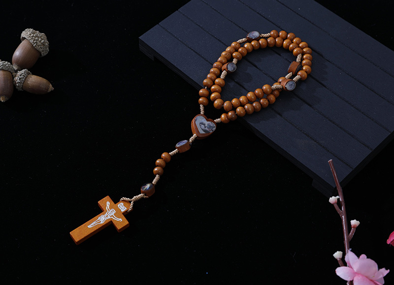 6-7mm light brown wood cord rosary with pictures