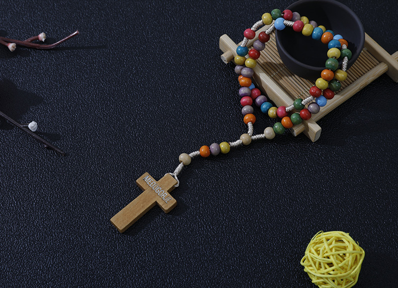6-7mm mixed color wood rosary