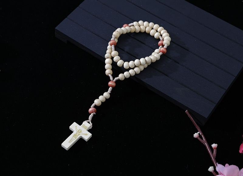 6-7mm nature wood cord rosary
