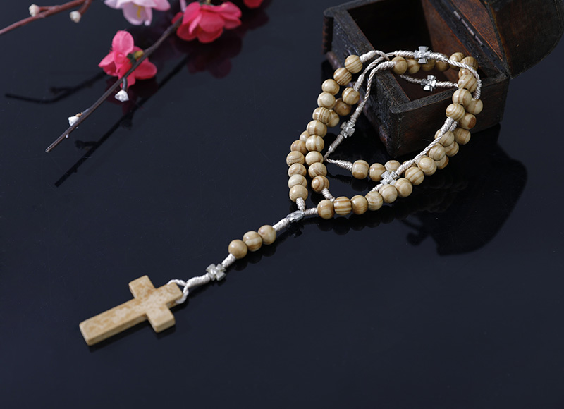 6-7mm olive wood rosary with metal parts