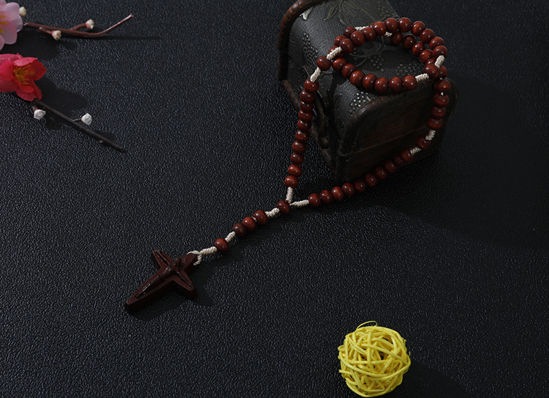 6-7mm red wood rosary with carved cross
