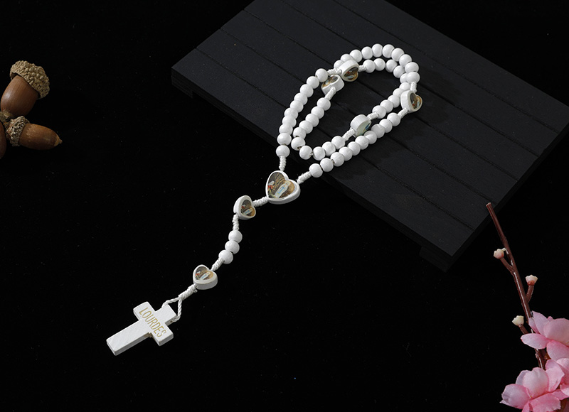 6-7mm white wood cord rosary