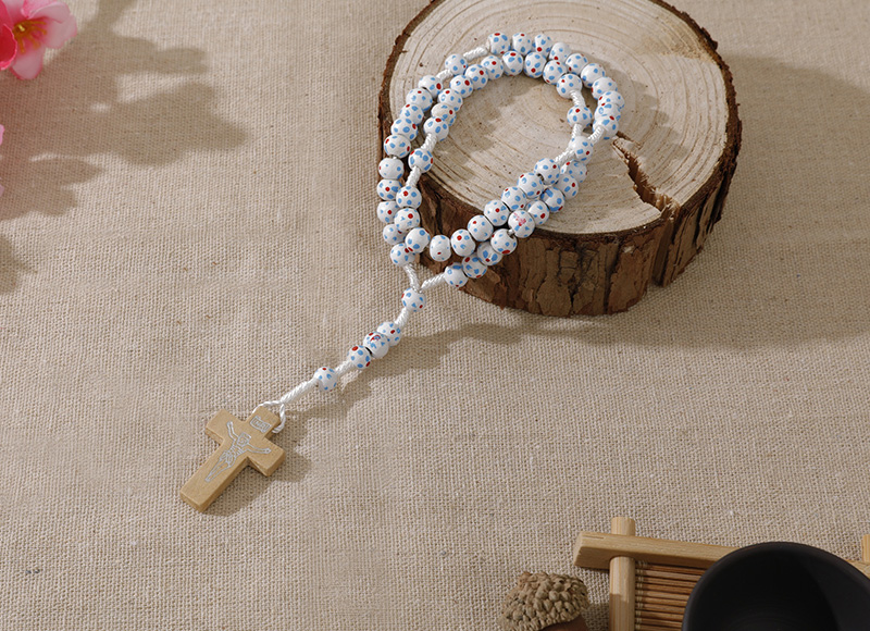 6-7mm white wood cord rosary with flowers