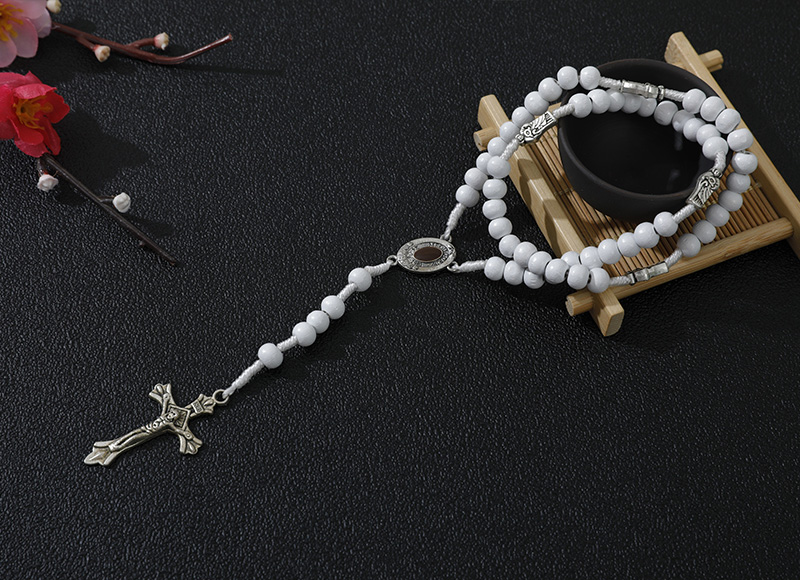 6-7mm white wood rosary with metal cross