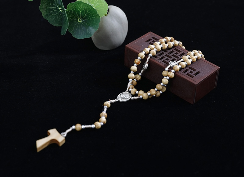 5-6mm olive wood rosary with alloys