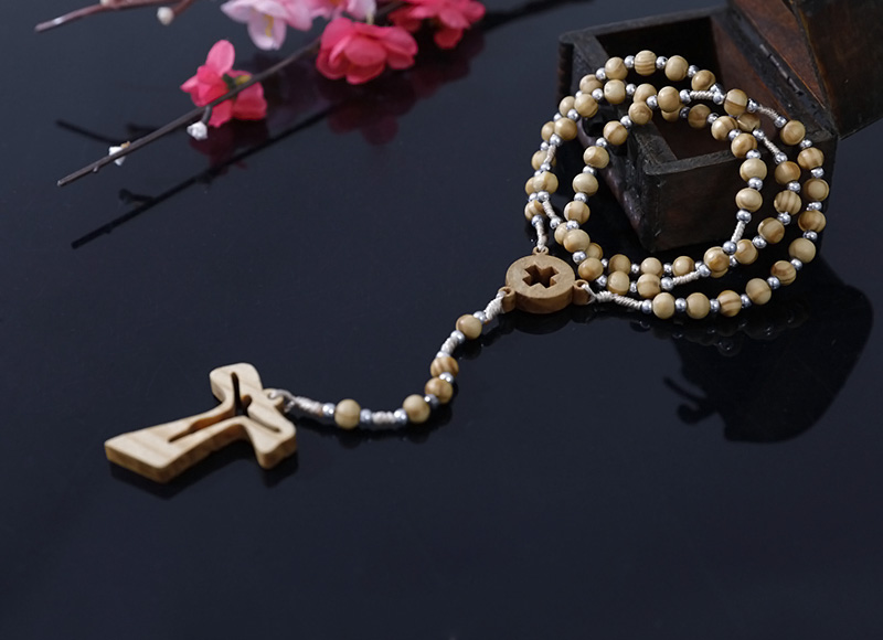 5-6mm olive wood rosary with silver plastic beads