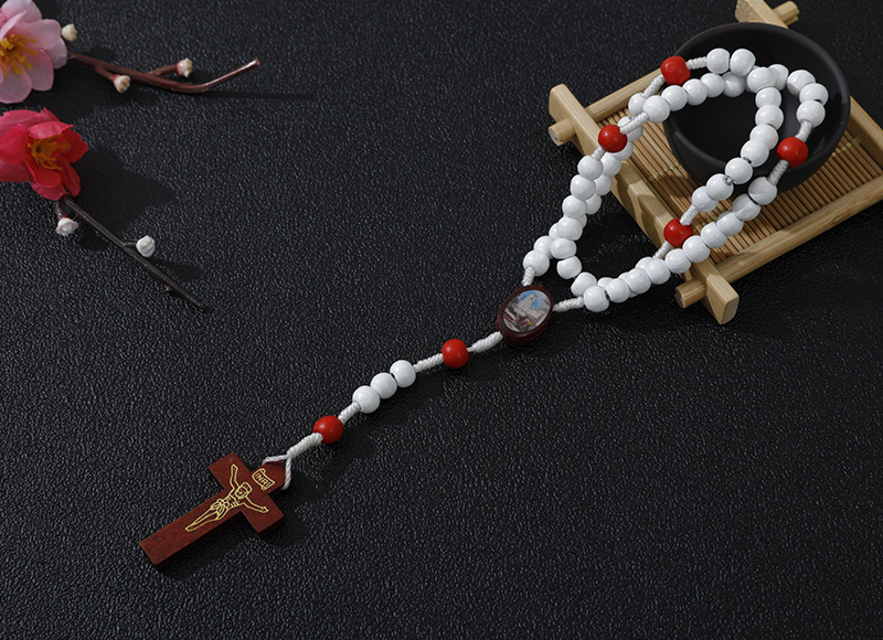 7-8mm white wood rosary