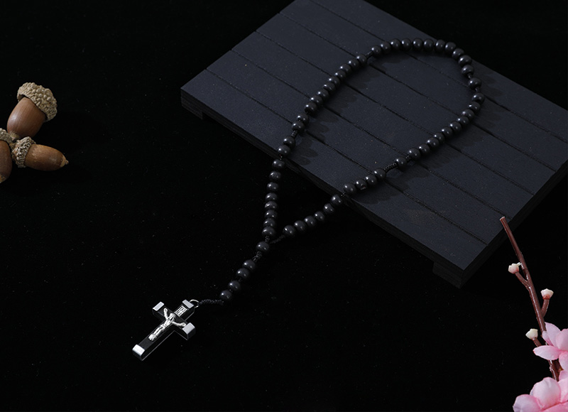 6-7mm black wood cord rosary