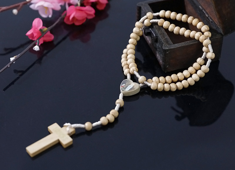 6-7mm olive wood rosary with expoxy