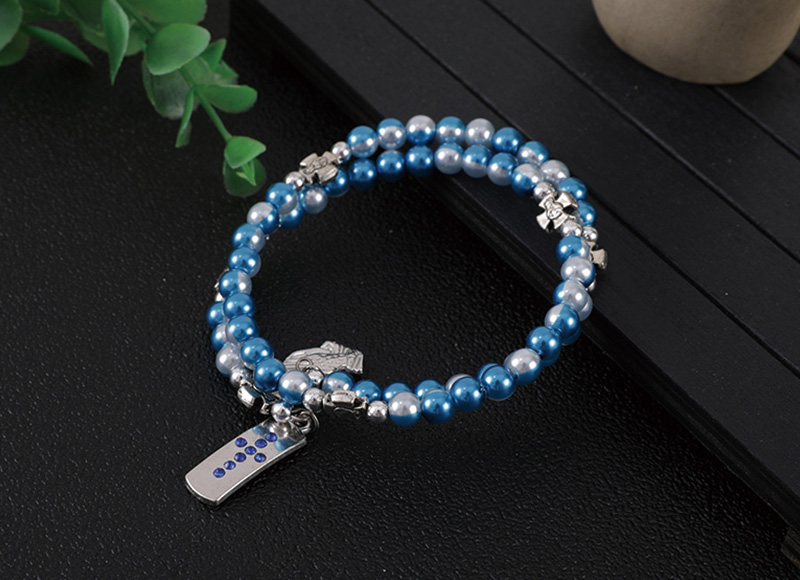 6mm blue pearl bracelet