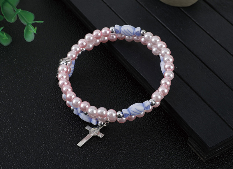 6mm pink pearl plastice beads bracelet