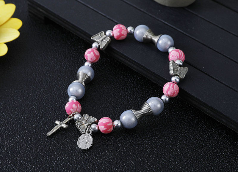 10mm ceramic with alloy beads bracelet