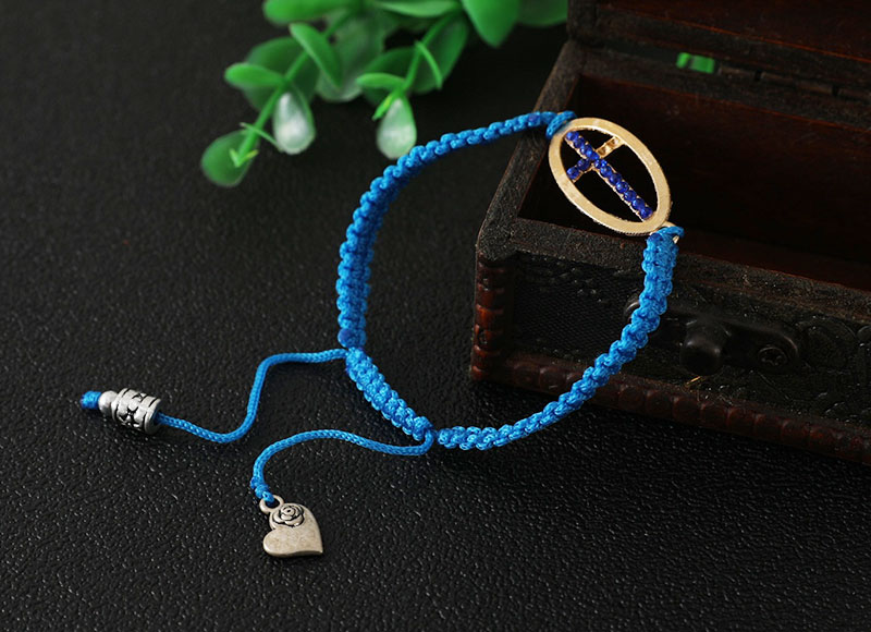 Blue color knotted rope bracelet