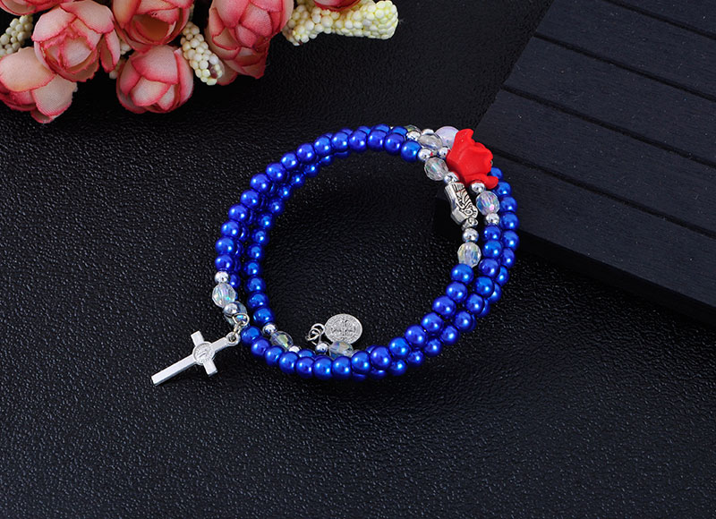Blue Plastic Beaded Multi-layer Bracelets