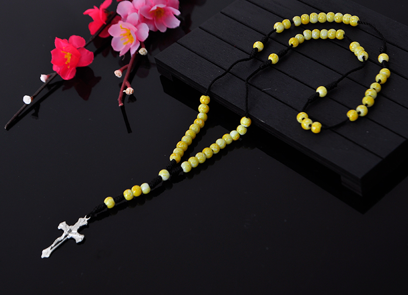 6mm yellow stone beaded rosary pendant necklace