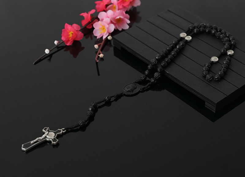 6x7mm Black Plastic Rose Beads Rosary With Alloy Pendant