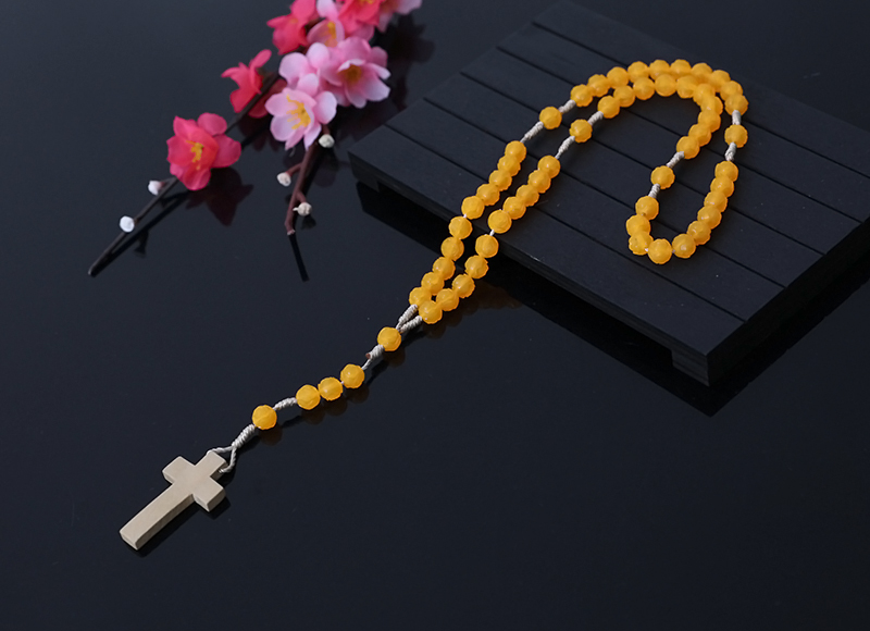 6X7mm Orange Plastic Rosary With Wood Cross