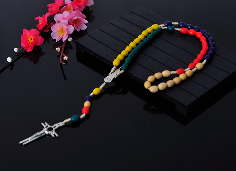 6x8mm colorful wood beads rosary with alloy cross