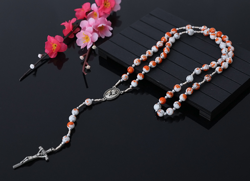 8mm Natural Stone Beads Rosary With Alloy Cross