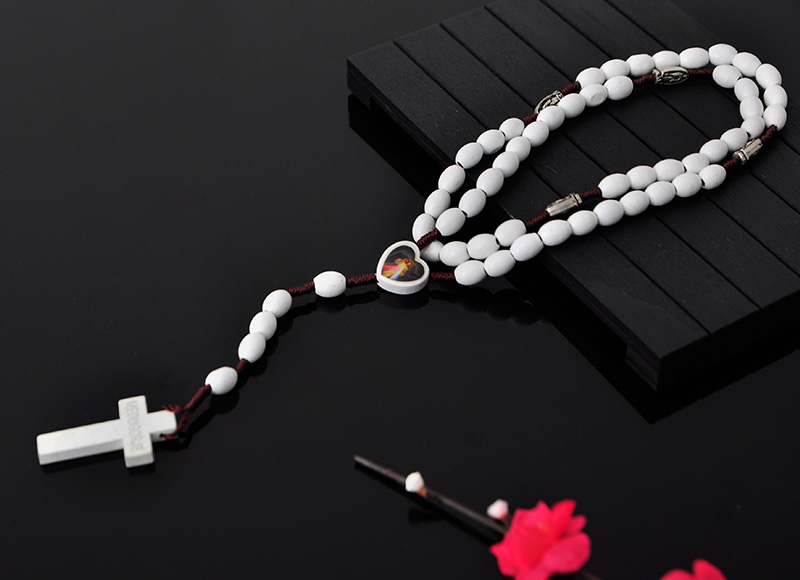 8x6mm white oval wood beads rosary necklace
