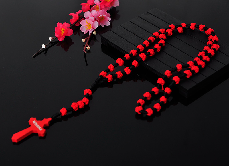 10mm Red Cord Beads Rosary Cross Pendant Necklace