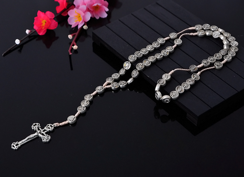 10mm Round Alloy Beads Rosary Necklace