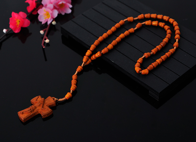 Dark Cafe Oval Wood Rosary With cross pendant