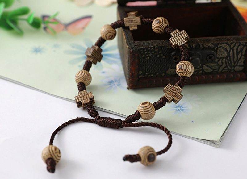 New wood brown cord bracelet