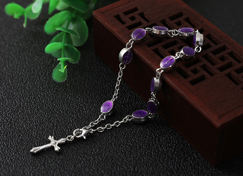 Alloy purple beads rosary bracelet
