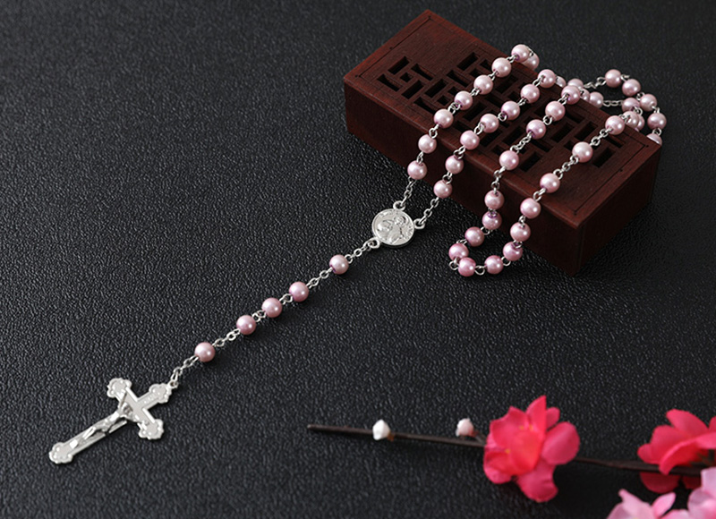 Pink glass imitation pearl rosary