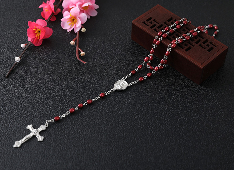 Red plastic pearl rosary