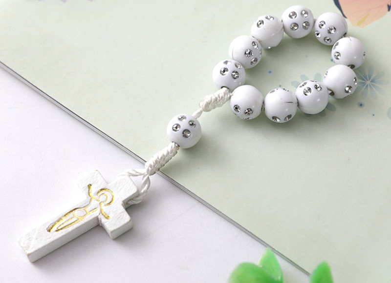8mm white plastic beads rosary
