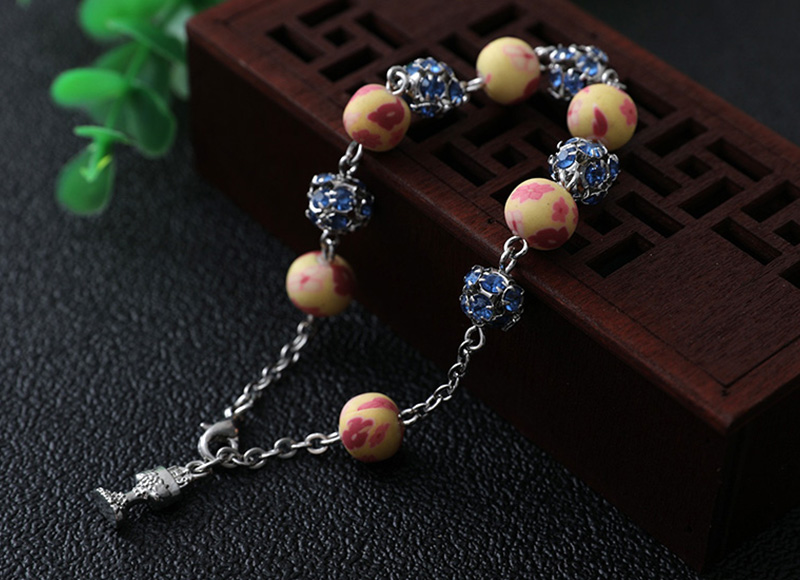 Soft ceramic  and diamond bracelet