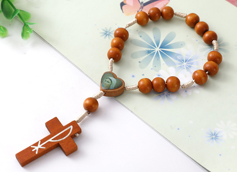 Brown wood beads finger rosary