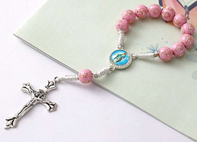 Pink plastic beads rosary