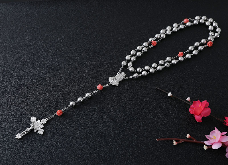 6mm alloy beads with flower beads rosary necklace