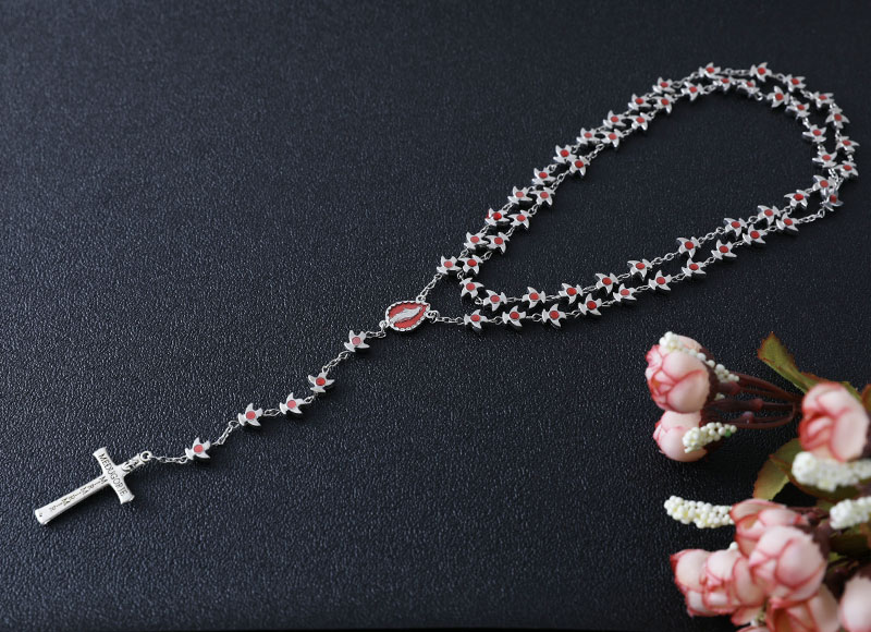 8mm alloy beads chain rosary necklace