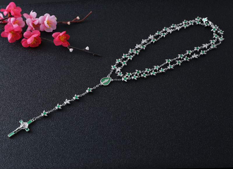 8mm green color alloy beads chain rosary necklace