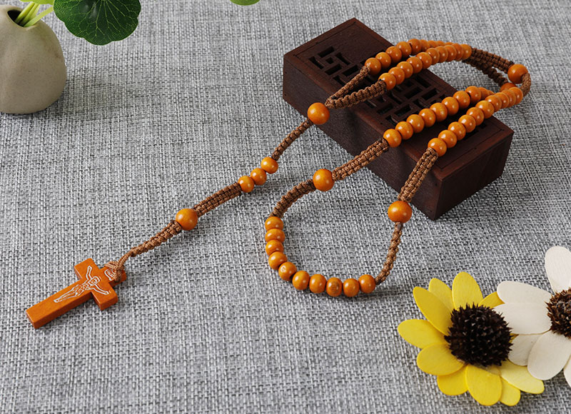 8mm wooden beads cord rosary