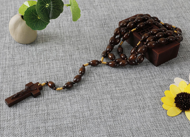 Brown wooden beads cord rosary